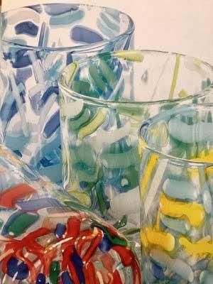 """GLAS-KOLLEKTION ARTE """"ISOLE"""" Handarbeit, mundgeblasen, durchgefärbt in Multicolor, spülmaschinenfest"""